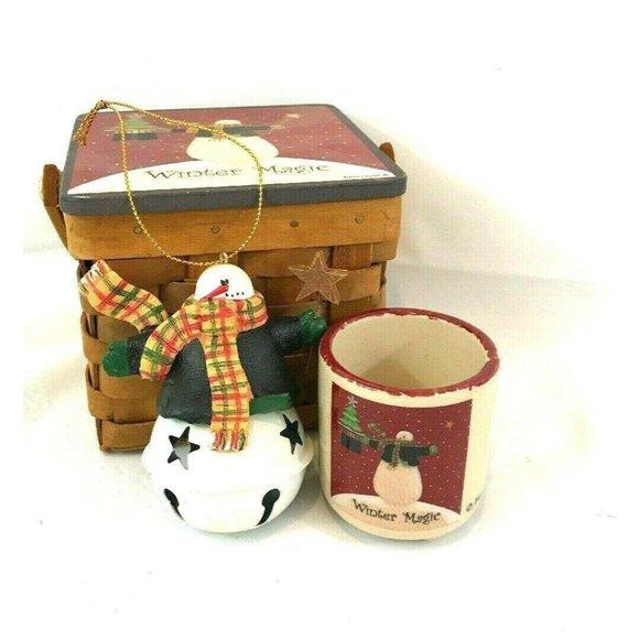 3 pc Snowman themed gift set Ornament Tea Light